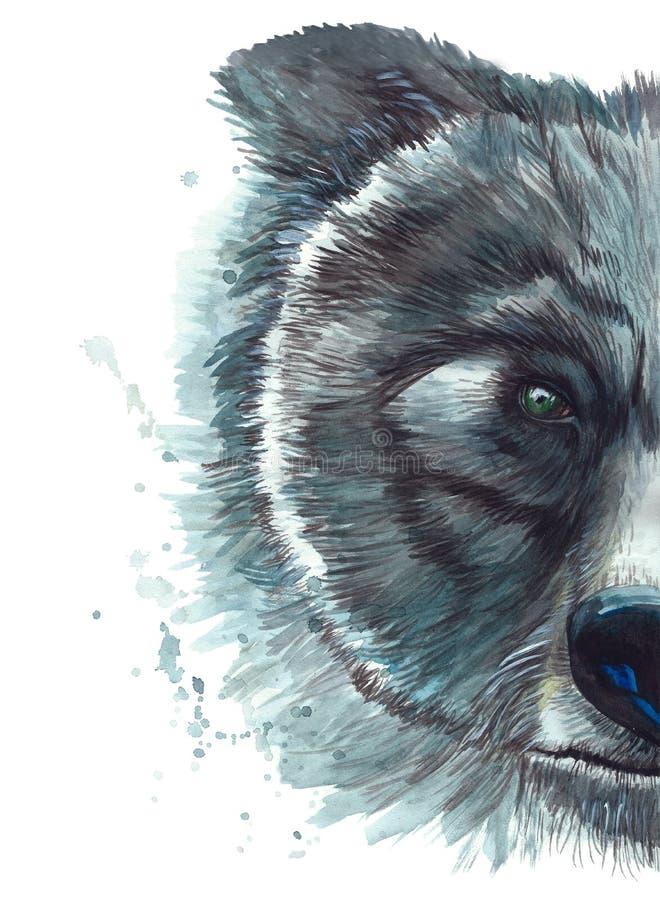 与熊头的水彩印刷店画象的被绘的图画 向量例证