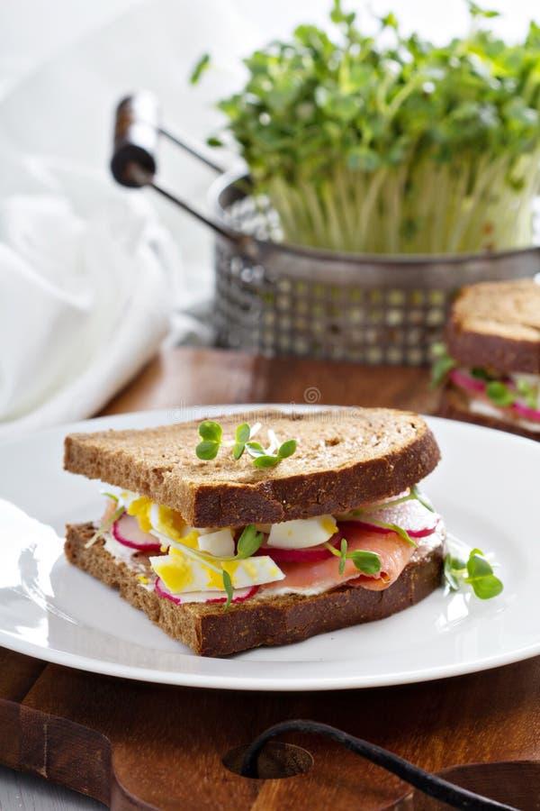 与熏制鲑鱼、萝卜和鸡蛋的三明治 免版税库存照片