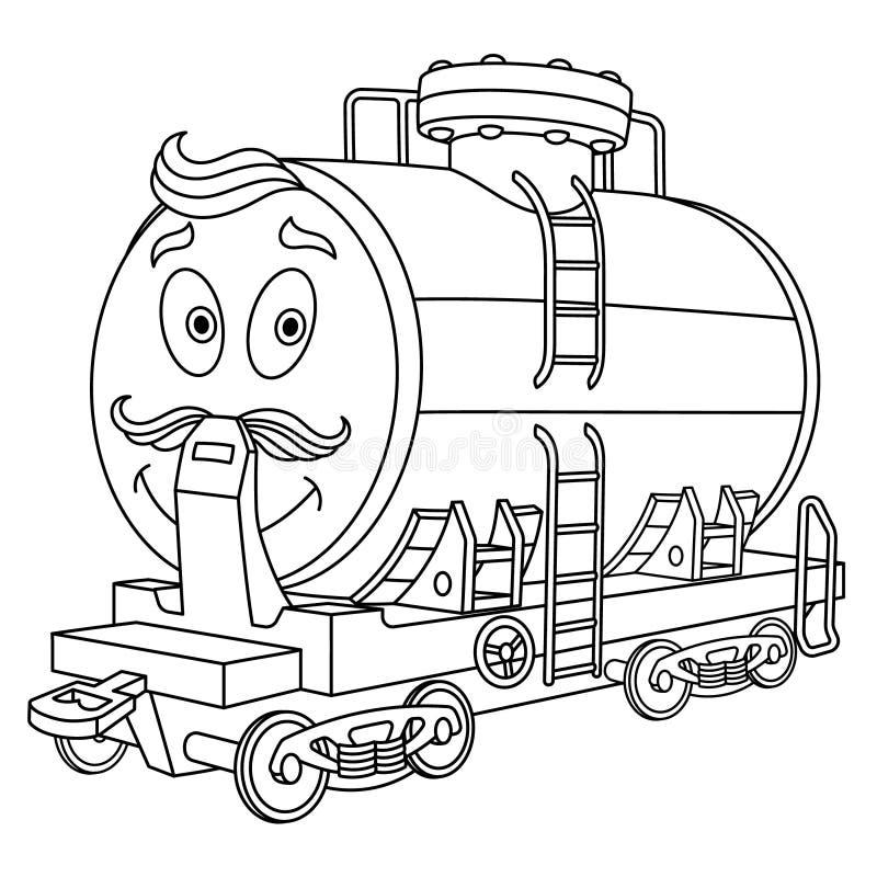 与燃料路轨罐车的上色页 向量例证