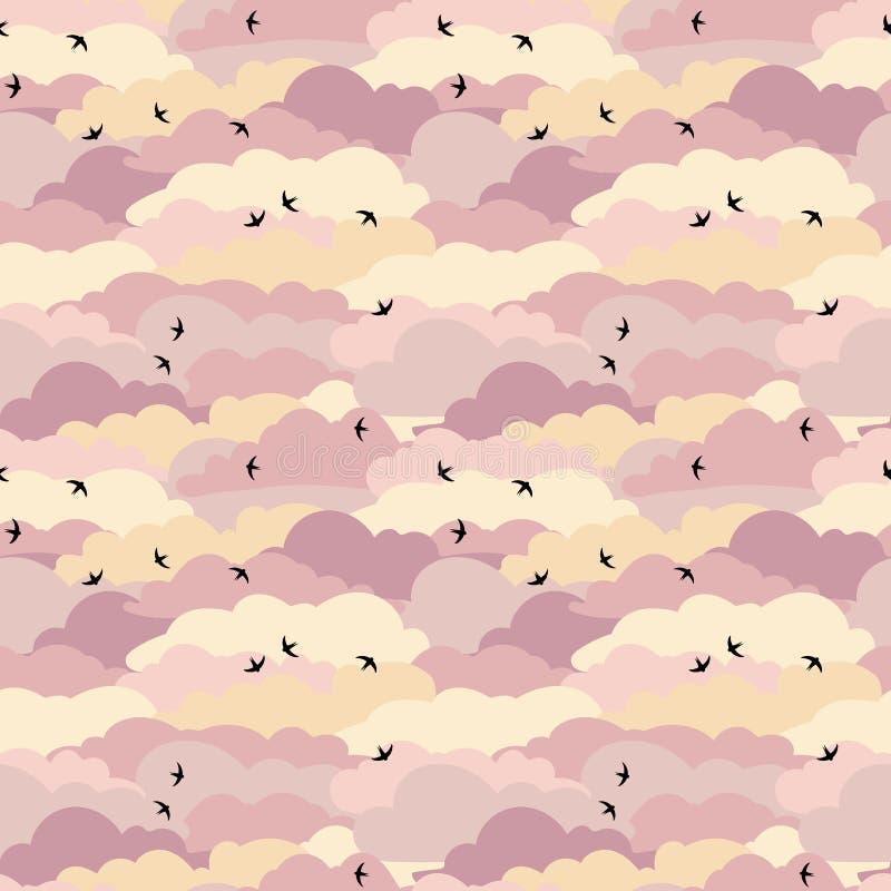 与燕子的无缝的样式在天空 皇族释放例证