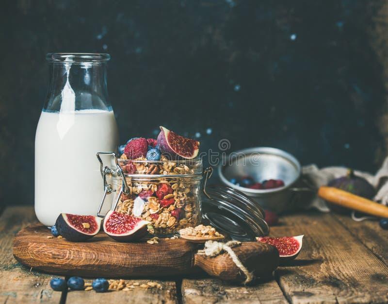 与燕麦粥格兰诺拉麦片的健康素食主义者早餐和杏仁挤奶 免版税库存照片