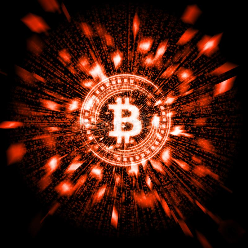 与爆炸微粒的发光的炽热bitcoin BTC和翘曲二进制数据背景 库存例证