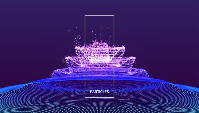 与爆炸的背景 与动力效应的抽象传染媒介例证 3d未来派技术样式 能使用为 皇族释放例证