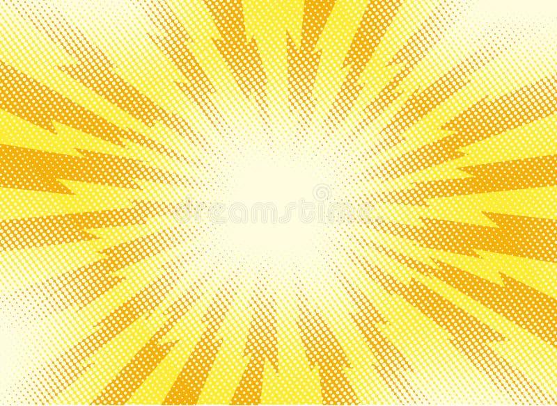 与爆炸的黄色和橙色流行艺术减速火箭的背景发出光线o 皇族释放例证