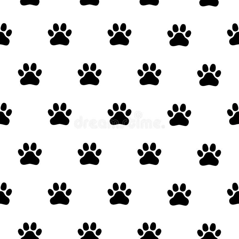 与爪子印刷品的黑白无缝的样式 抽象背景,动物脚印 库存例证