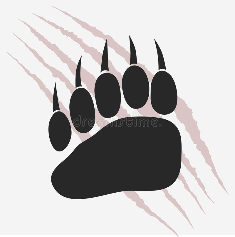 与爪的熊脚印抓传染媒介 向量例证