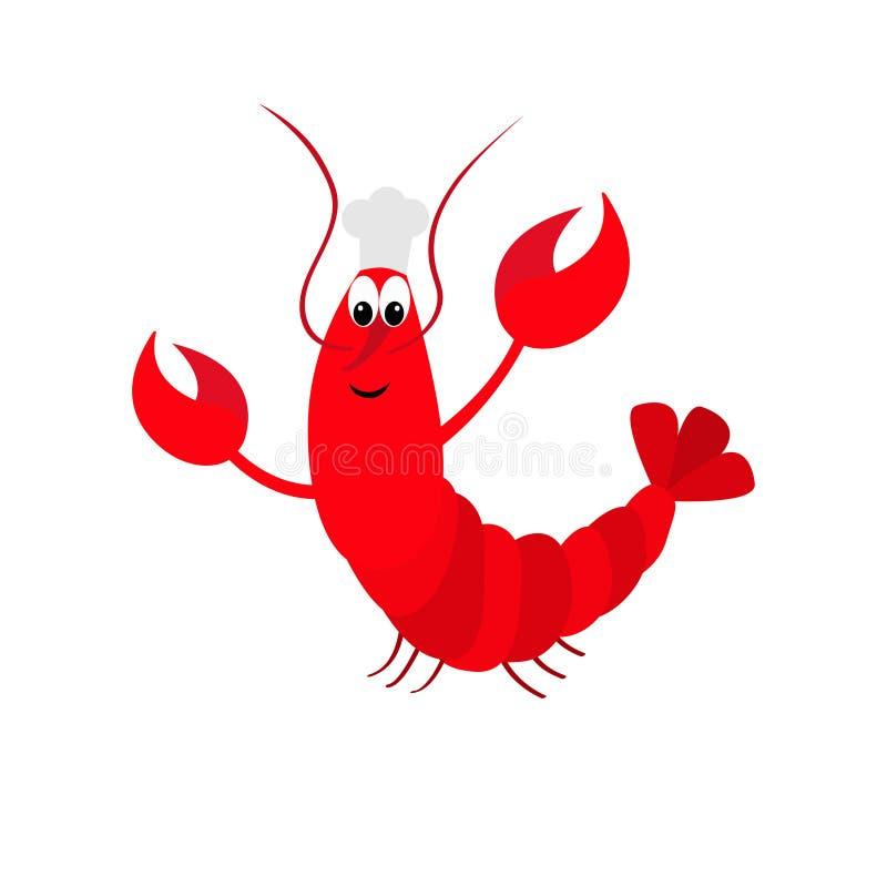 与爪的龙虾 厨师帽子 逗人喜爱的漫画人物 滑稽的海海洋动物 海鲜菜单标志标志 婴孩汇集 平的desig 库存例证