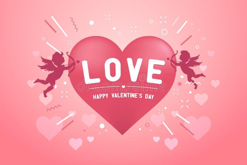与爱丘比特的愉快的情人节横幅 库存例证