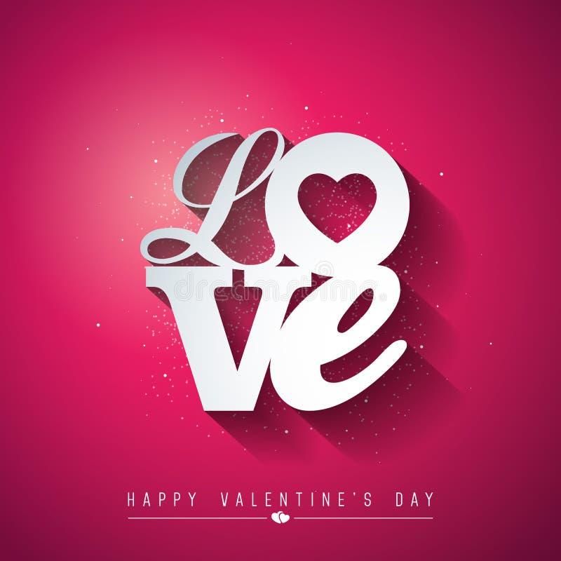 与爱印刷术信件的情人节设计在红色背景 传染媒介婚礼和浪漫题材例证为 库存例证