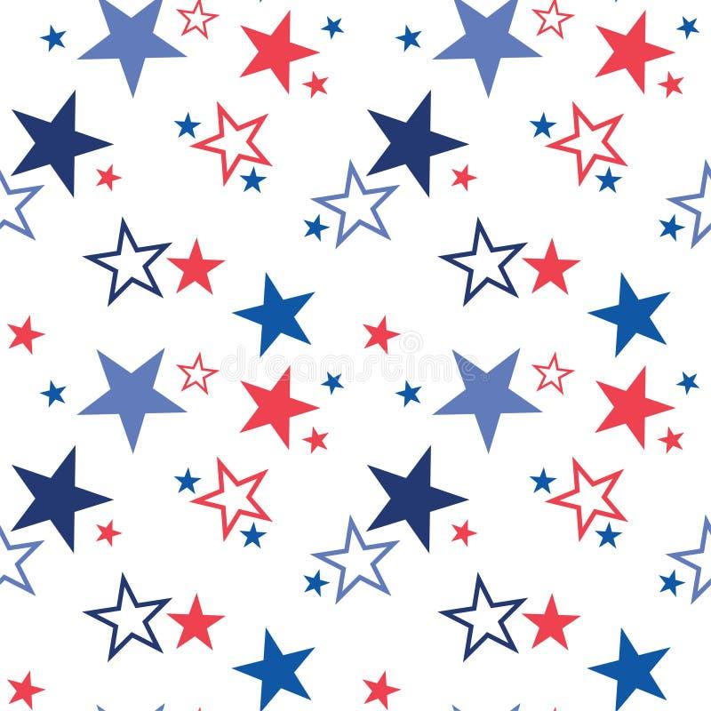 与爱国星的传染媒介无缝的样式 美国的全国颜色 美国国旗、星条旗 使用 向量例证