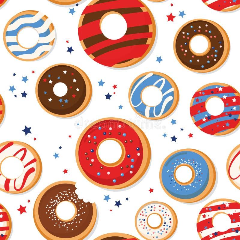 与爱国油炸圈饼的传染媒介无缝的样式 美国的全国颜色 美国国旗、星条旗 向量例证
