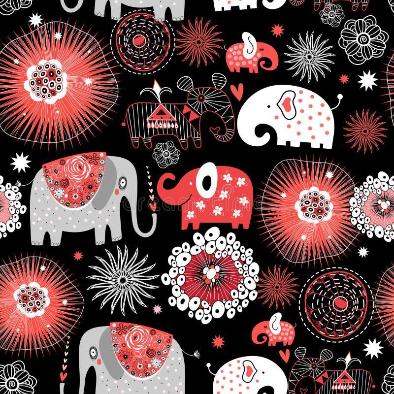 与爱大象的向量图形无缝的样式 皇族释放例证