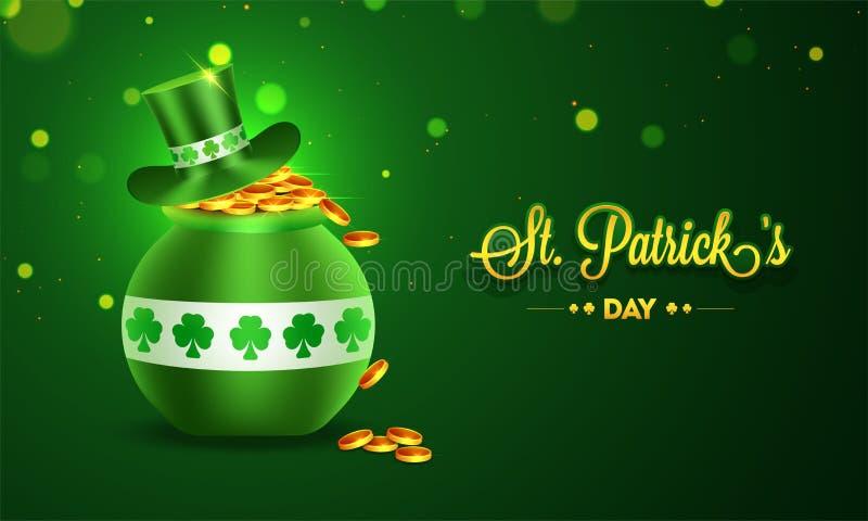 与爱尔兰大锅和妖精帽子的例证的横幅或海报设计在绿色bokeh背景的 库存例证