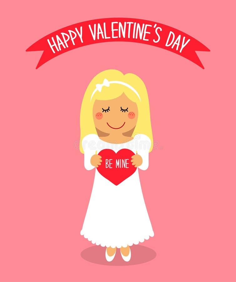 与爱恋的女孩滑稽的漫画人物的逗人喜爱的华伦泰` s天卡片有心脏的在手上 向量例证