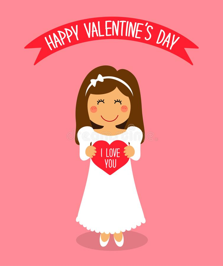 与爱恋的女孩滑稽的漫画人物的逗人喜爱的华伦泰` s天卡片有心脏的在手上 皇族释放例证
