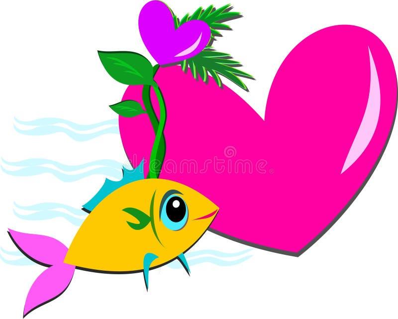 与爱恋的心脏的鱼 皇族释放例证