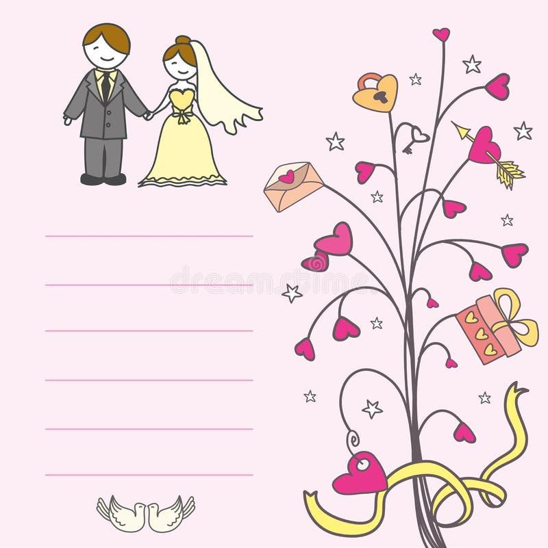 与爱护树木的邀请卡片,心脏 向量例证