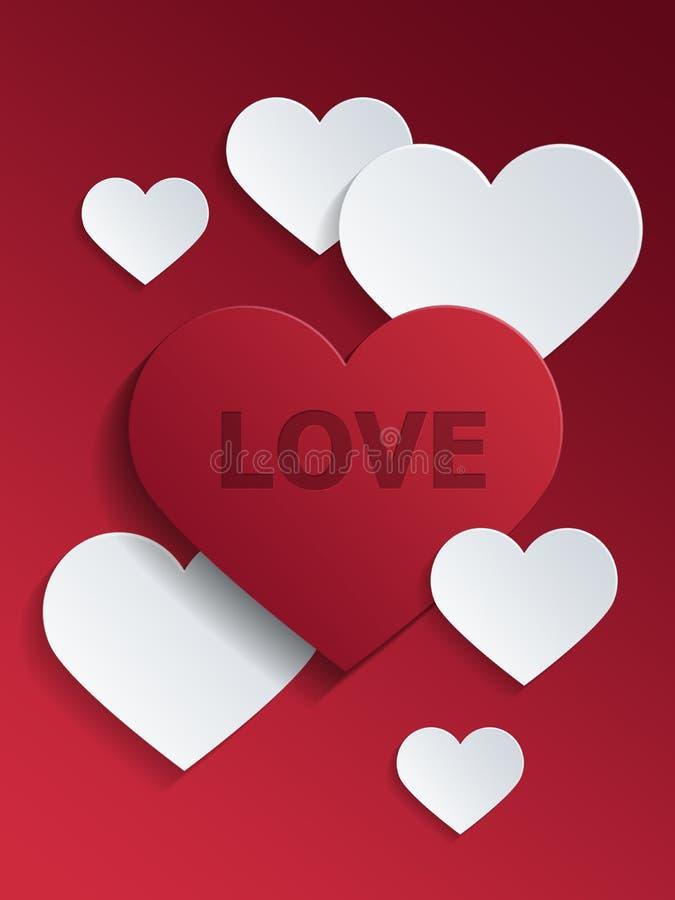 与爱文本的红色和白色心脏华伦泰的 库存例证