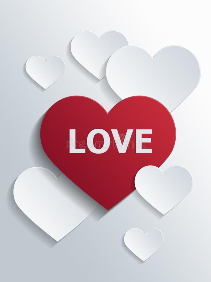与爱文本的红色心脏和在边的小心脏 库存例证