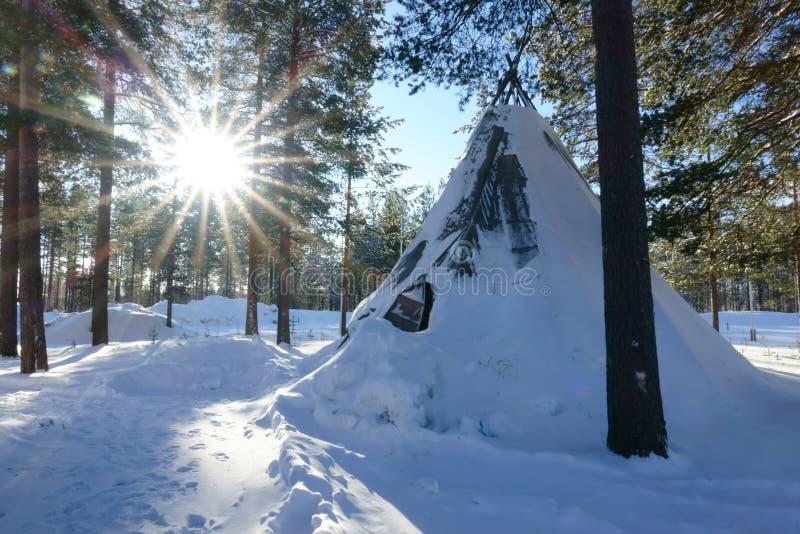 与爱斯基摩帐篷和太阳的冬天极性森林风景 图库摄影