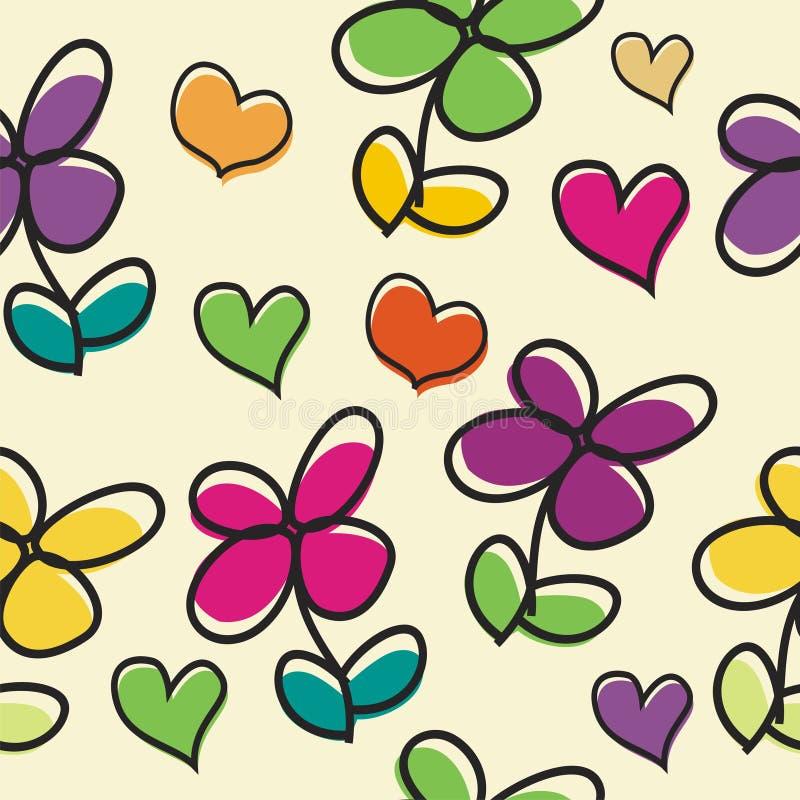 与爱无缝的样式设计的逗人喜爱的花动画片 库存例证