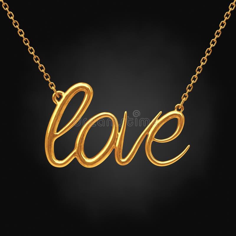 与爱标志的金黄首饰项链 3d翻译 向量例证