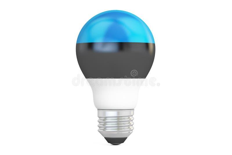与爱沙尼亚旗子, 3D的电灯泡翻译 皇族释放例证