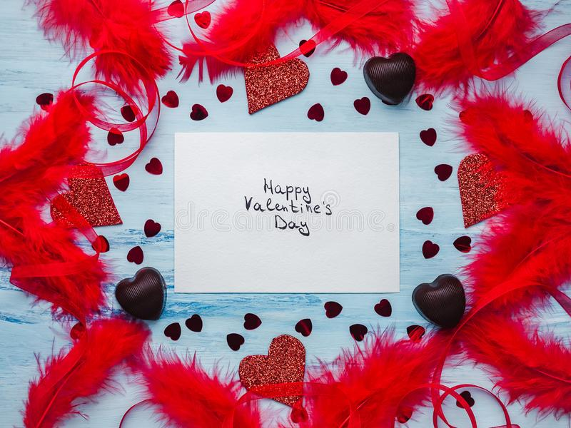 与爱甜蜜的笔记  平的位置 库存照片