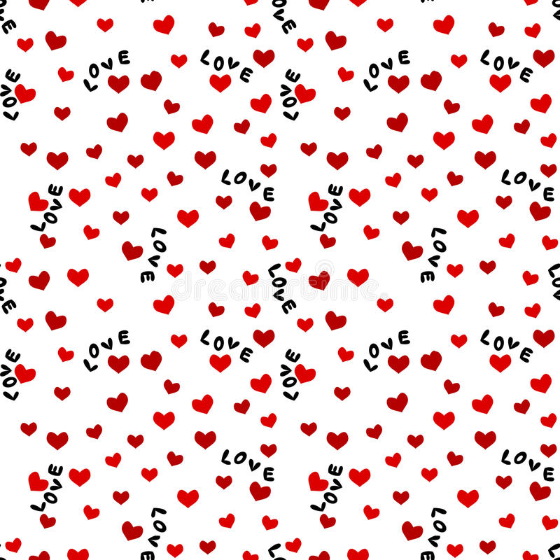 与爱词和心脏的无缝的背景 库存例证