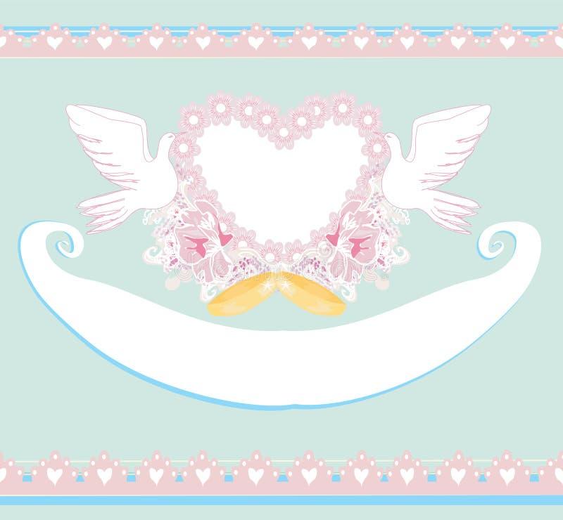 与爱鸟的浪漫卡片-婚礼邀请 库存例证