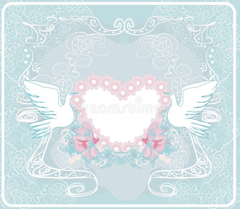 与爱鸟的浪漫卡片-婚礼邀请 向量例证