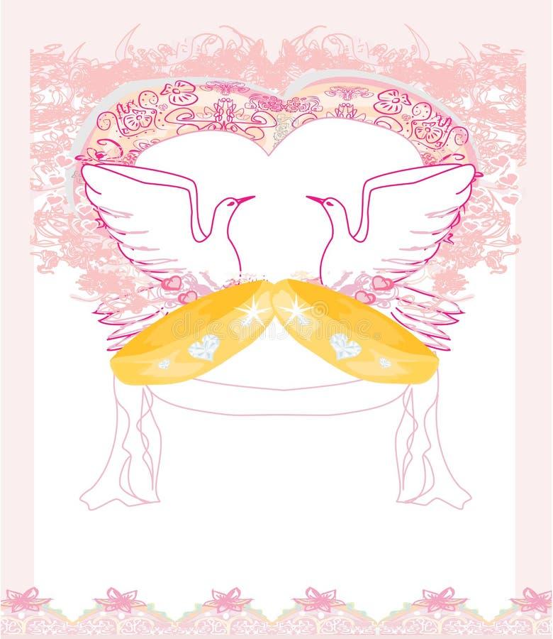 与爱鸟的浪漫卡片 皇族释放例证