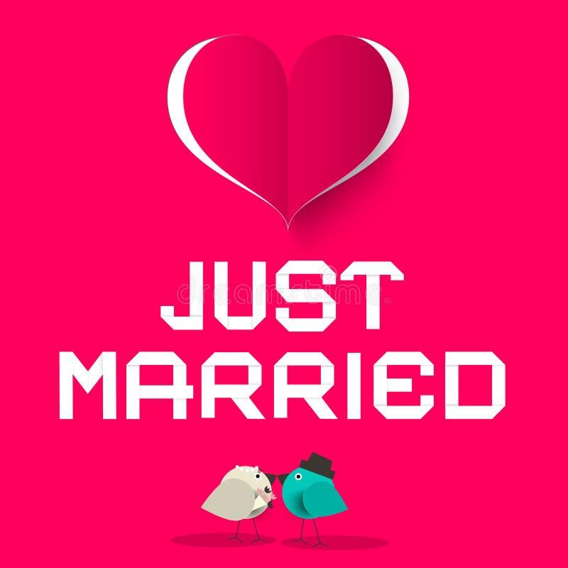 与爱鸟的结婚的桃红色减速火箭的传染媒介卡片 库存例证