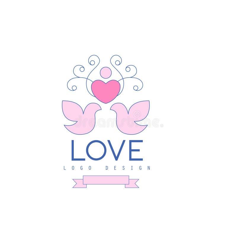 与爱鸠、心脏和curlicue的婚礼线商标 库存例证