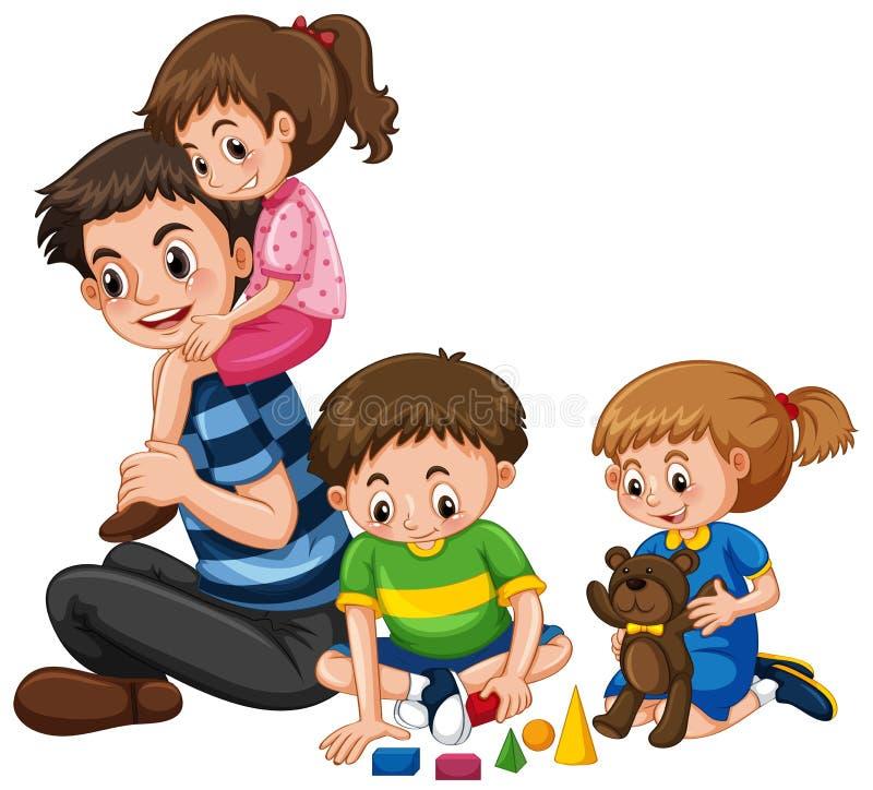 与父亲和三个孩子的家庭 库存例证
