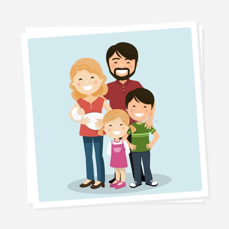 与父母、孩子和babyborn的幸福家庭照片 库存例证