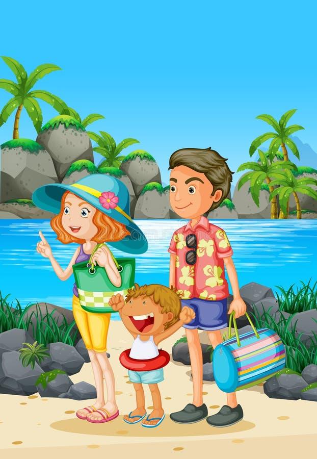 与父母和孩子的家庭旅行在海滩 皇族释放例证