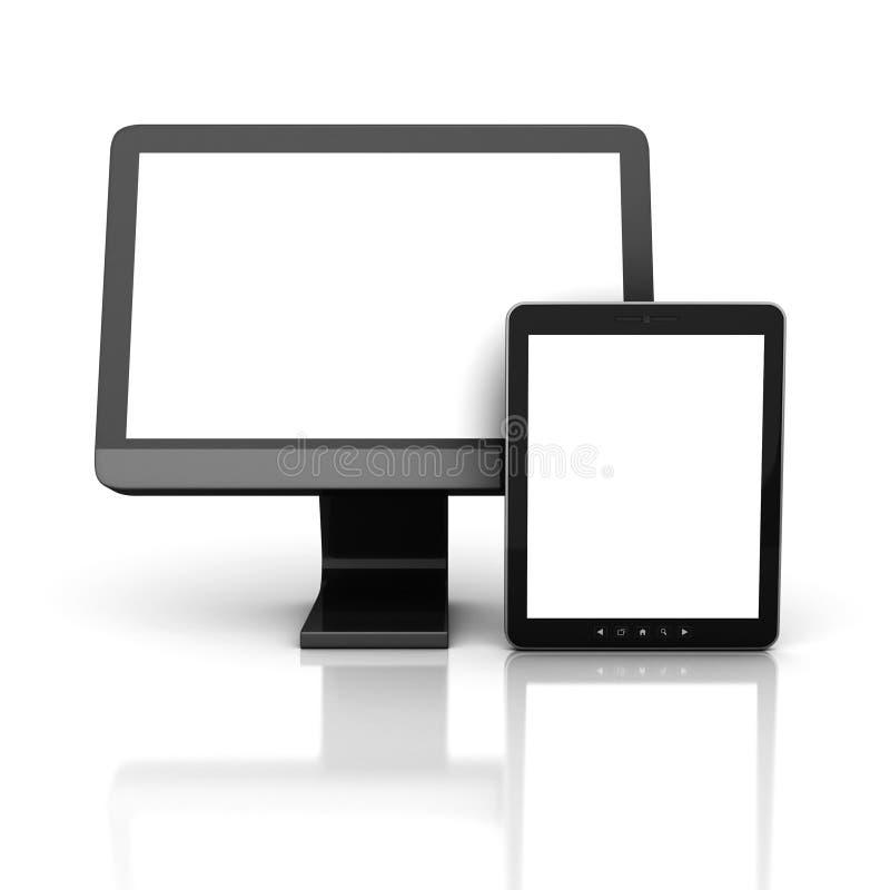 与片剂个人计算机的计算机显示器 皇族释放例证