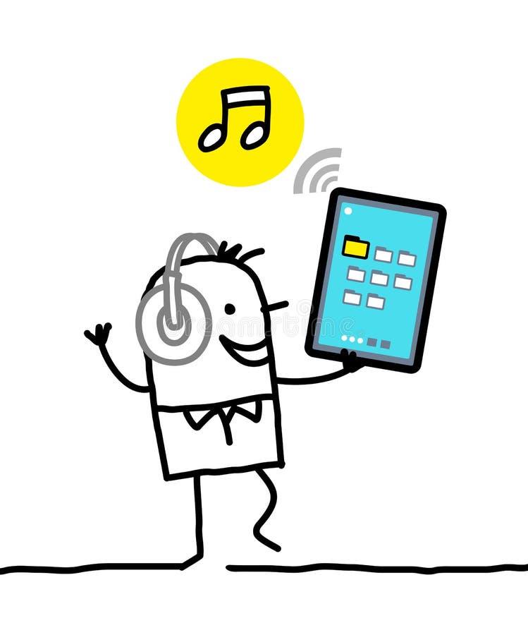 与片剂的字符-音乐 向量例证