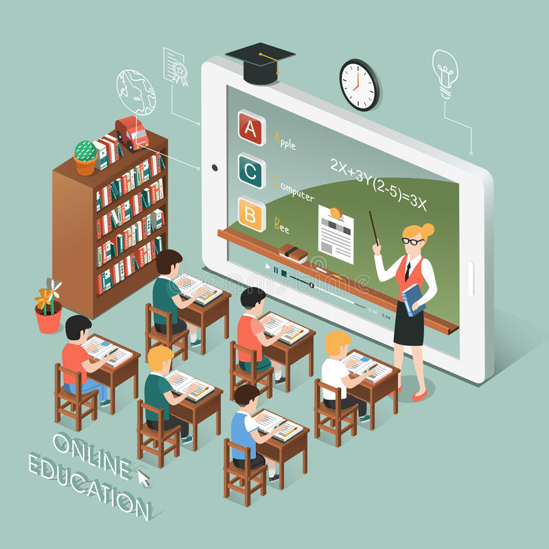 与片剂的网上教育 向量例证