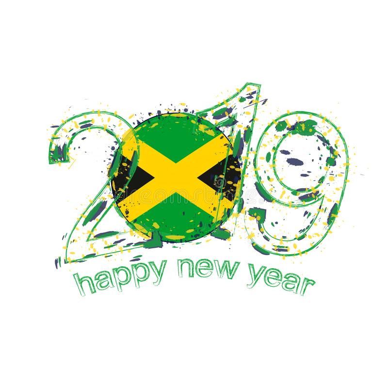 与牙买加的旗子的愉快的新的2019年 假日难看的东西传染媒介 皇族释放例证