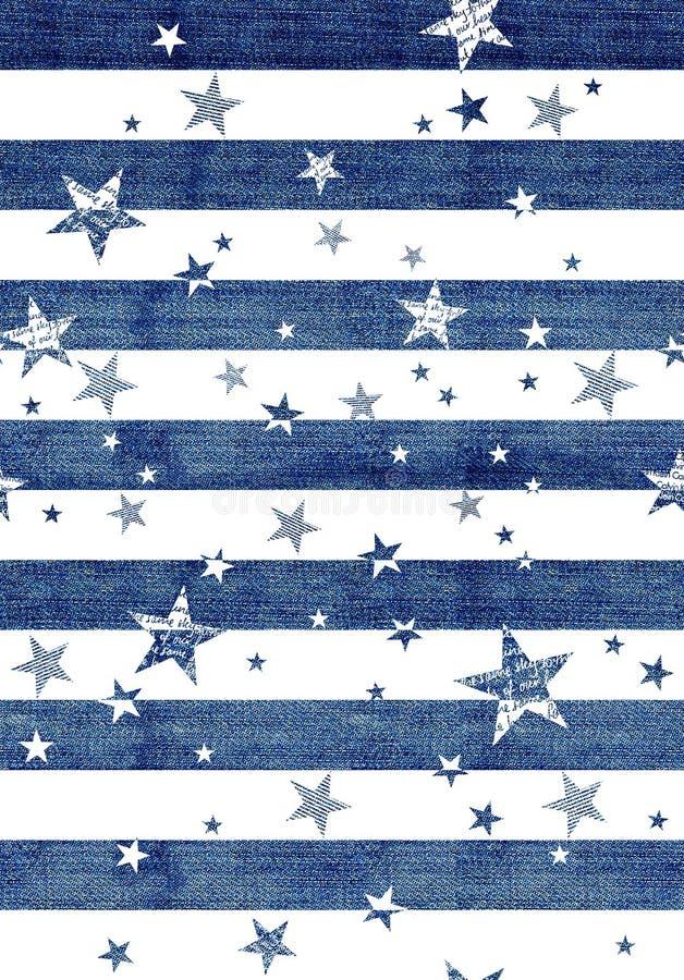 与牛仔裤的抽象无缝的样式构造了星,条纹 库存例证