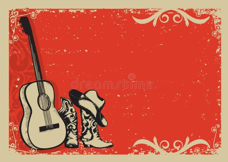 与牛仔靴和音乐吉他的葡萄酒海报 向量例证