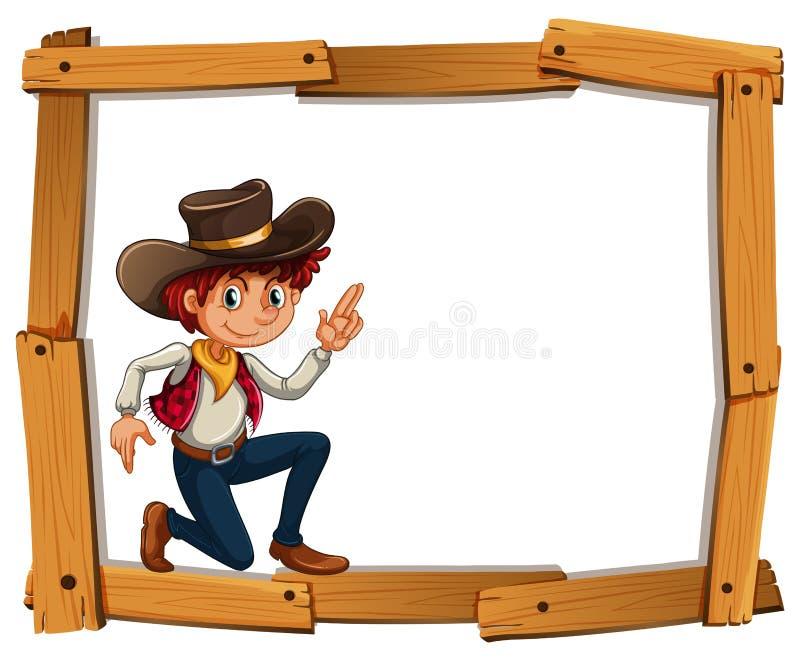 与牛仔的框架模板 库存例证