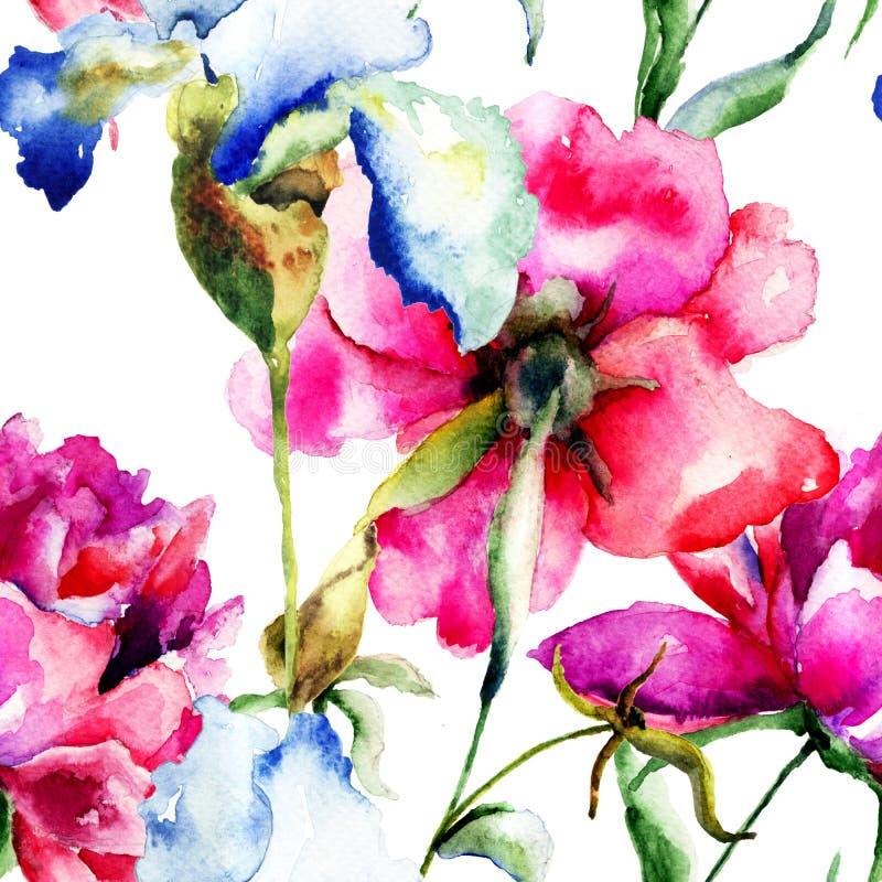 与牡丹和虹膜花的无缝的墙纸 库存例证