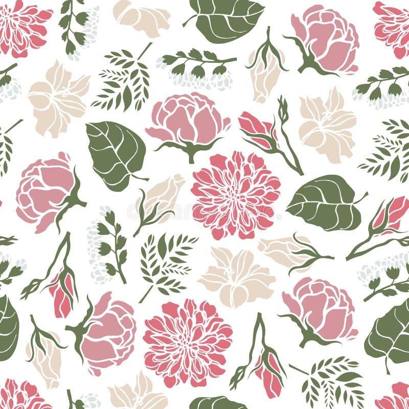 与牡丹玫瑰响铃百合蕨花的无缝的花卉样式  库存例证