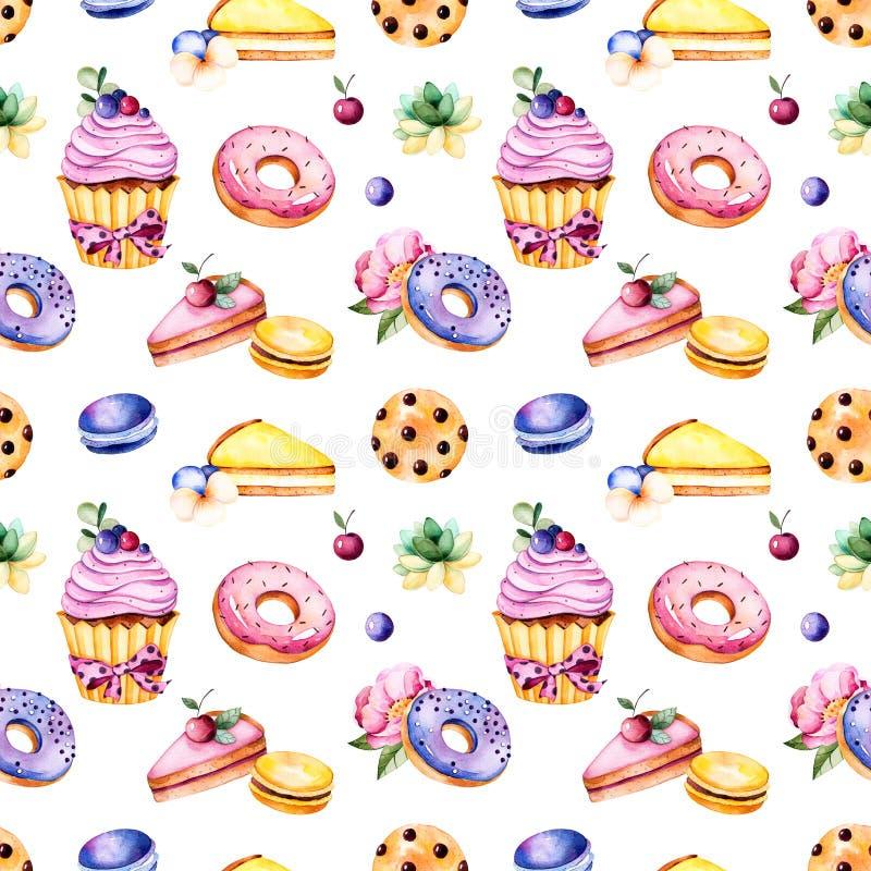 与牡丹花、叶子、多汁植物,鲜美杯形蛋糕、蝴蝶花花、蛋白杏仁饼干、油炸圈饼、曲奇饼、柠檬和樱桃che的无缝的样式 库存例证