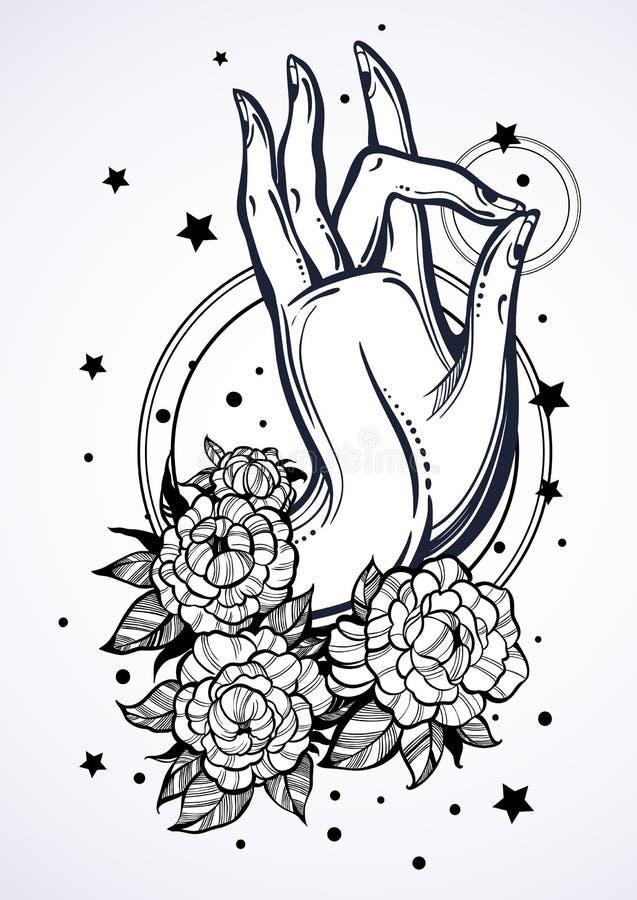 与牡丹花和神圣的几何的美好的高详细的菩萨` s手例证 宗教概念 检查设计图象我的投资组合相似的纹身花刺 向量例证