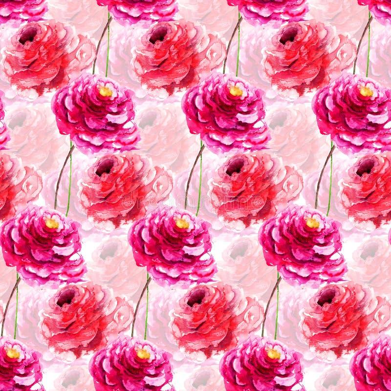 与牡丹花的无缝的样式 向量例证