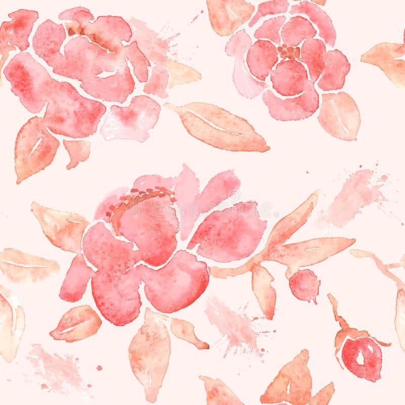 与牡丹花的水彩无缝的墙纸 向量例证